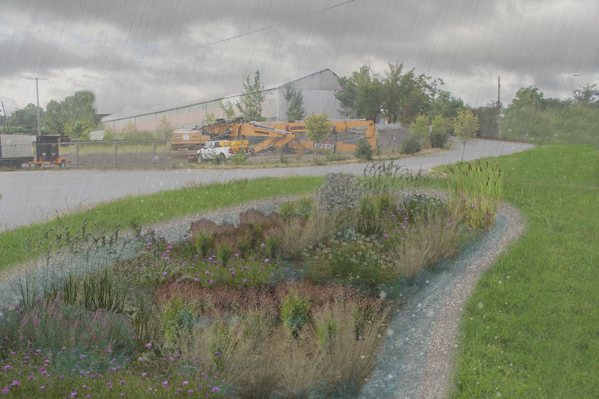 Digital rendering the proposed Submerged Gravel Wetland along 42nd Place and Armentrout Drive